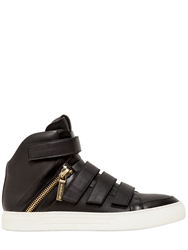 Pierre Balmain Velcro Nappa Leather High Top Sneakers Black