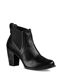 Ugg Cobie Leather Block Heel Booties Black