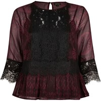 River Island Womens Red Lace Peplum Top