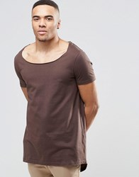 Asos Super Longline T Shirt With Split Back Step Hem And Drape Neck Black Coffee Brown