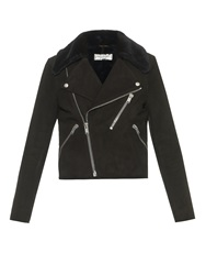 Saint Laurent Shearling Collar Suede Biker Jacket