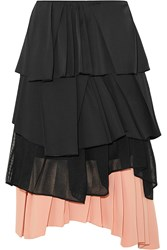 Cedric Charlier Pleated Satin Cotton Blend Poplin Mesh And Crepe Skirt Black