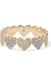 Sydney Evan Eternity Heart 14 Karat Yellow And White Gold Diamond Ring 6 1 2