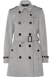 Burberry Leather Trimmed Wool And Cashmere Blend Trench Coat