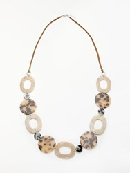 One Button Long Oval Marble Element Necklace Nude