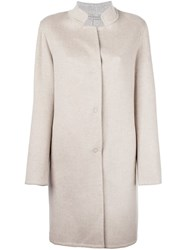 Liska Single Breasted Midi Coat Nude And Neutrals