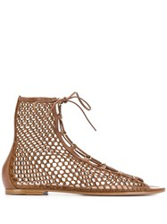 Gianvito Rossi Caged Lace Up Sandals Brown