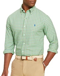 Polo Ralph Lauren Checked Oxford Classic Fit Button Down Shirt Lime Orange Multi