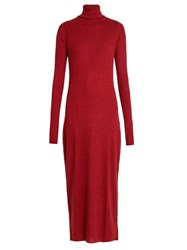 Raey Roll Neck Ribbed Fine Knit Cashmere Dress Red