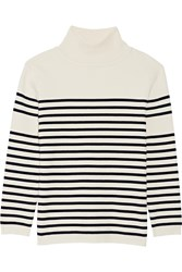 La Ligne Striped Stretch Cotton Turtleneck Sweater Cream