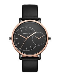 Skagen Polished Stainless Steel Dual Time Leather Strap Watch Black