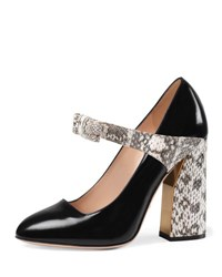 Gucci Nimue Snakeskin And Leather Mary Jane Pump Black