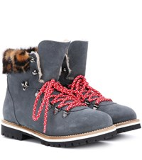 Mr And Mrs Italy Fur Lined Suede Ankle Boots Grey