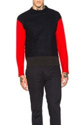 Marni Colorblock Crew Neck Sweater In Blue Red