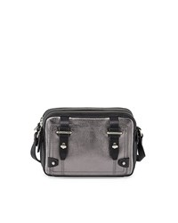 Etienne Aigner Mini Stag Leather Crossbody Bag Pewter Black