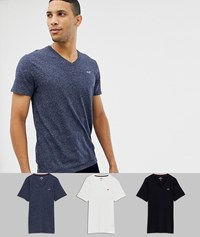Hollister 3 Pack V Neck T Shirt Seagull Logo Slim Fit In Black Grey Navy Multi
