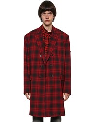 Balenciaga Double Breasted Wool Plaid Coat Red Black