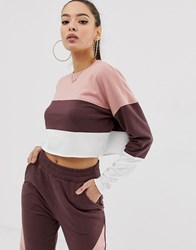 Missguided Co Ord Contrast Panel Cropped Sweat Beige
