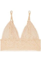 Anine Bing Magda Stretch Lace Soft Cup Triangle Bralette Neutral
