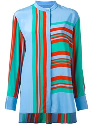 Diane Von Furstenberg Striped Blouse Blue