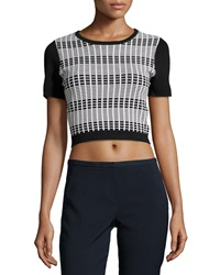 Romeo And Juliet Couture Short Sleeve Knit Crop Top Black White