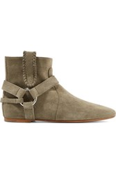 Etoile Isabel Marant Ralf Embellished Suede Ankle Boots Gray