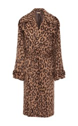 Michael Kors Collection Oversized Leopard Brushed Trench Coat Animal