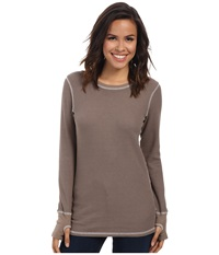 Allen Allen L S Thumbhole Tee Thermal Crew Mushroom Women's Long Sleeve Pullover Gray