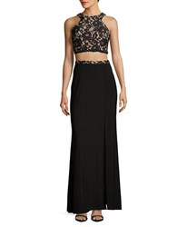 Xscape Evenings Lace Cropped Top And Skirt Set Black Nude