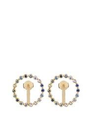 Charlotte Chesnais Saturn Small Sapphire Topaz And Gold Earrings Yellow Gold