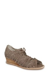 Jeffrey Campbell 'S Espejo Lace Up Wedge Taupe Suede