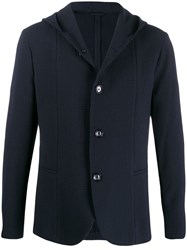 Emporio Armani Hooded Button Up Cardigan Blue