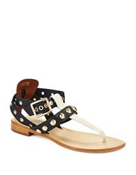 Trina Turk Berkeley Stud Accented Sandals Black White