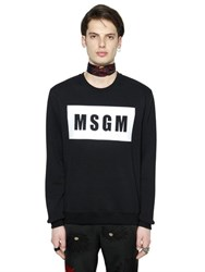 Msgm Reflective Logo Print Cotton Sweatshirt