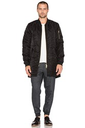 Scotch And Soda Quilted Long Bomber With Detachable Hood Black