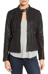 Via Spiga Women's Leather And Ponte Band Collar Jacket
