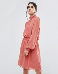 Traffic People Dress With Frill Neck Dusky Pink