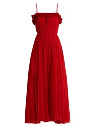 Adam By Adam Lippes Ruffled Pleated Chiffon Gown Red