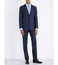 Armani Collezioni Checked Slim Fit Wool Suit Navy