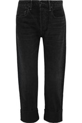 Vince. Woman Cropped High Rise Straight Leg Jeans Black