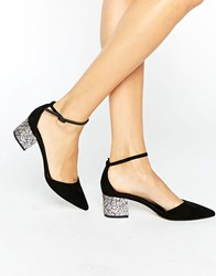 Asos Show Up Pointed Glitter Heels Black