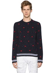 Dsquared Trees Embroidered Slub Wool Knit Sweater