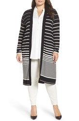 Foxcroft Plus Size Women's Gradient Stripe Long Cardigan