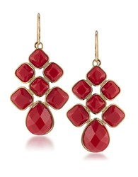 1St And Gorgeous Red Cabachon Chandelier Earrings Gold