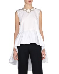Fendi Sleeveless Floral Poplin High Low Blouse White