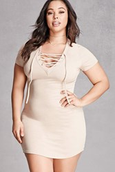 Forever 21 Plus Size Striped Lace Up Dress