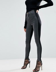 Asos Rivington High Waisted Denim Jeggings In Tonal Black And Washed Black Black