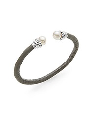 Majorica 8Mm White Round Pearl And Leather Bangle Bracelet