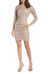 Sequin Hearts Ruched Body Con Cocktail Sheath Nurw Nude