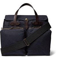 Filson 24 Hour Leather Trimmed Tin Cloth Briefcase Navy